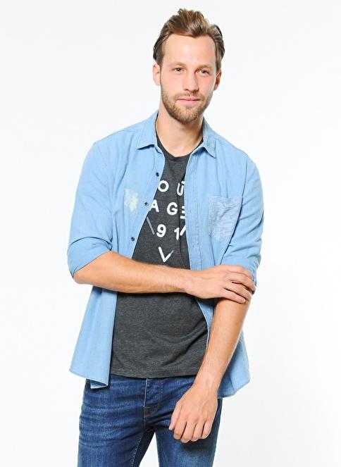 Mavi Jean Gömlek | Yarı Dar Kalıp İndigo
